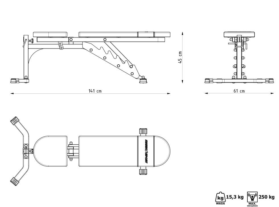 Ławka regulowana do ćwiczeń MH-L115 - Marbo Sport