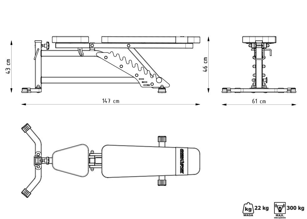 Ławka dwustronnie regulowana MS-L102 - Marbo Sport