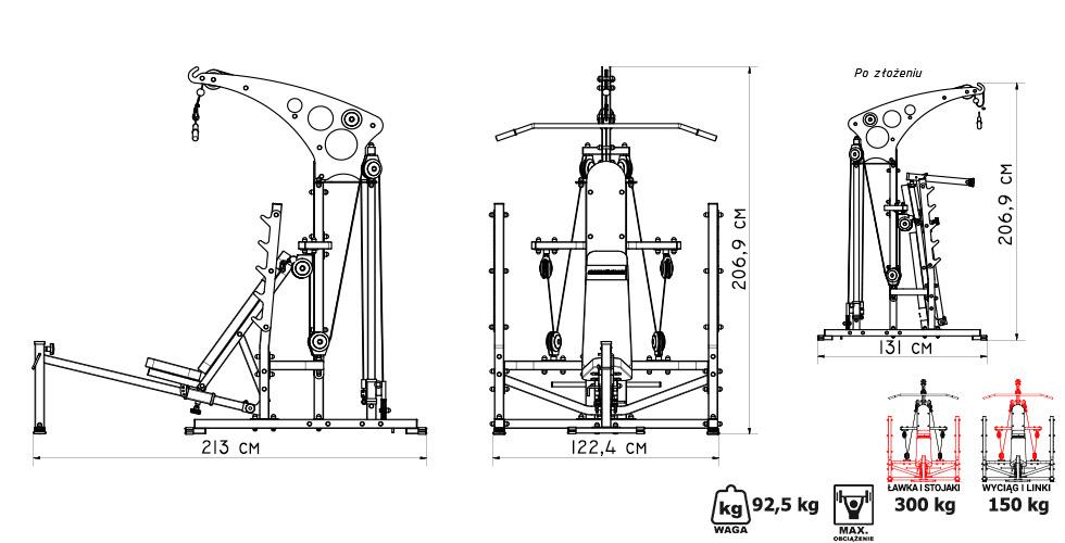 Ławka z atlasem MS-U113 - Marbo Sport