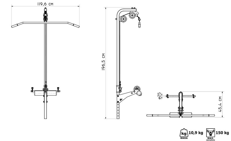 Wyciąg góry i dolny do ławek Semi-Pro MS-W102 - Marbo Sport