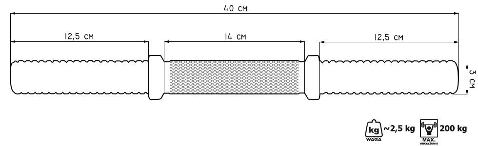 Gryf prosty krótki 40 cm wzmocniony śrubowy - Marbo Sport