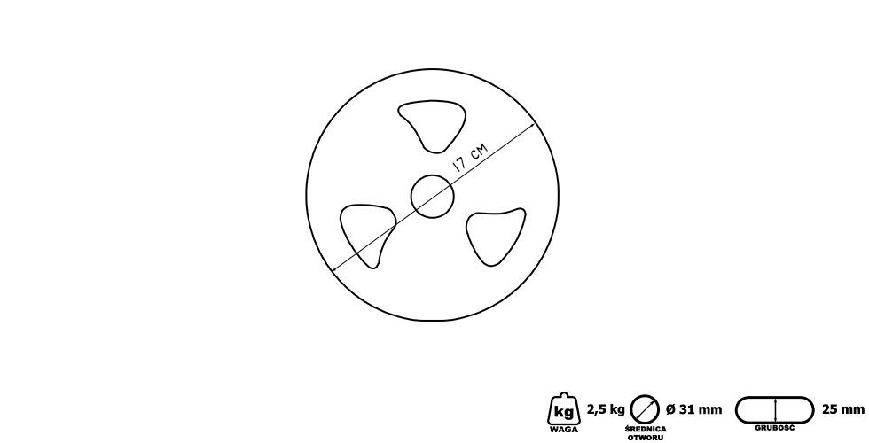 Obciążenie żeliwne gumowane 2,5 kg - Marbo Sport
