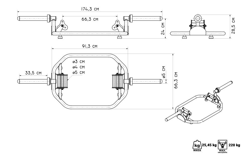 Gryf olimpijski Trap Bar PRO MF-G002