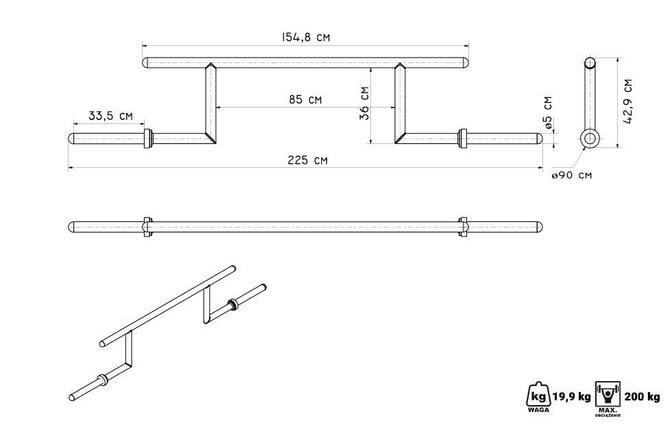 Gryf olimpijski Cambered Bar MF-G011