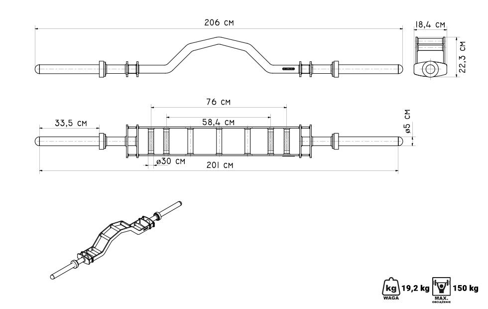 Gryf olimpijski Parallel Press Bar MF-G013