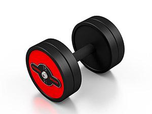 Zestaw hantli stalowych gumowanych 5-15 kg czerwony połysk ze stojakiem MF-S002 - Marbo Sport