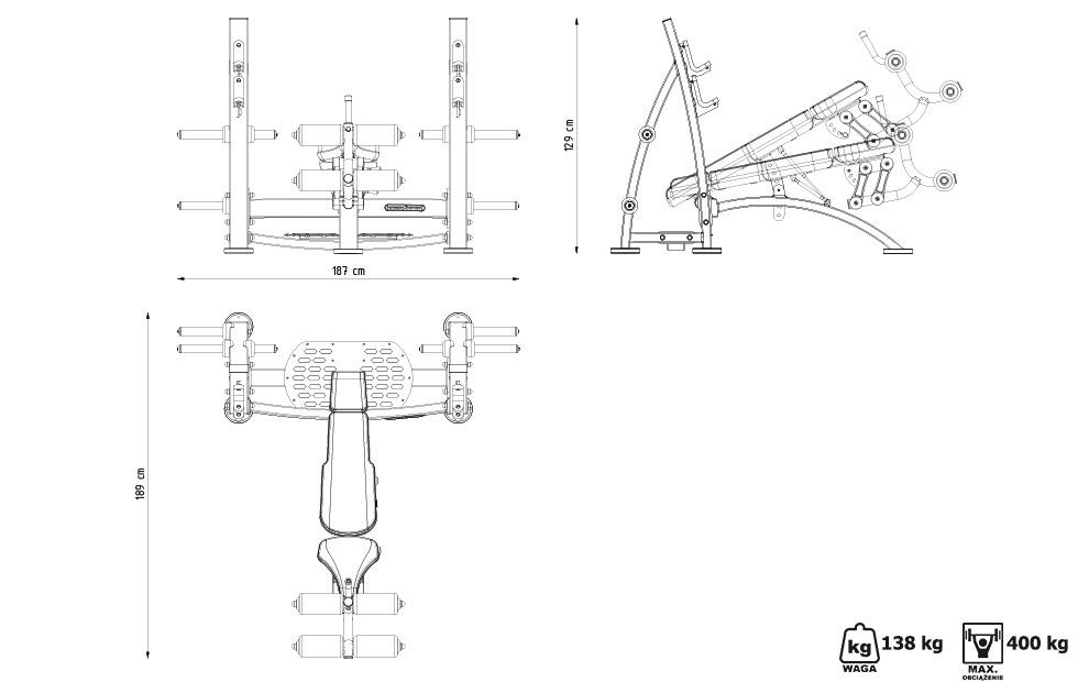 Ławka do wyciskania ze skosem ujemnym MF-L008 - Marbo Sport