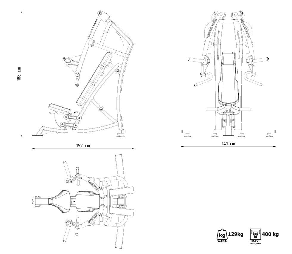 Maszyna na wolny ciężar na klatkę piersiową w skosie ujemnym MF-U006 - Marbo Sport