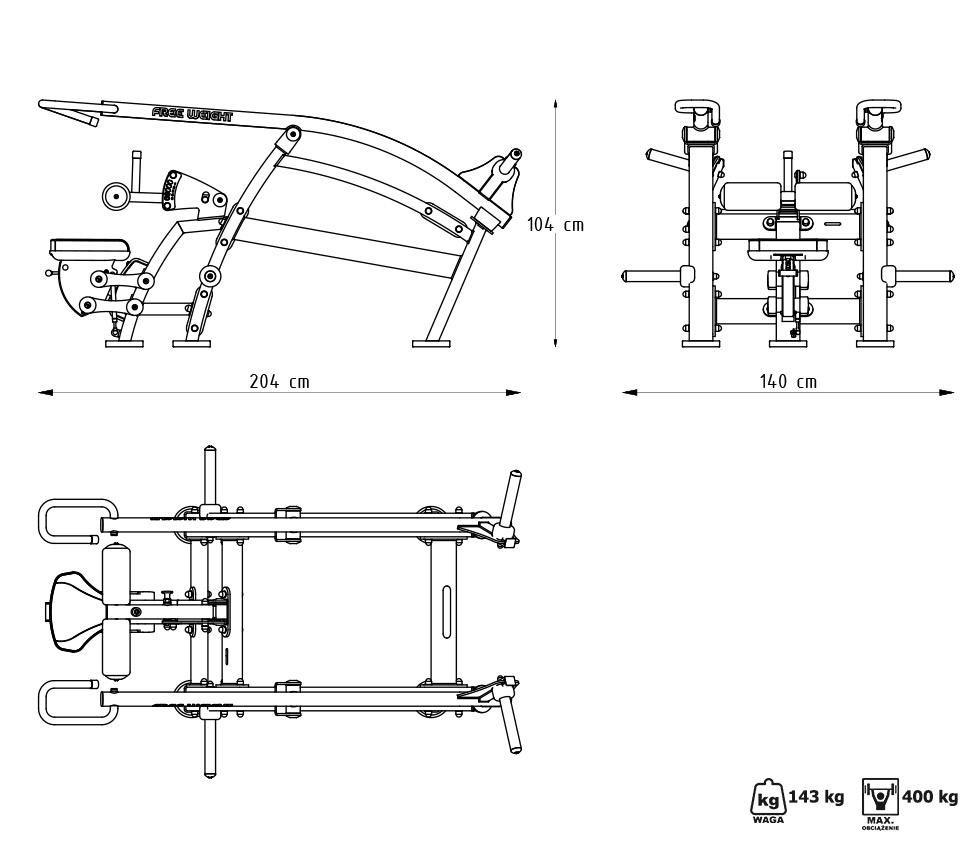 Maszyna na wolny ciężar do pompek rzymskich w pozycji siedzącej MF-U009 - Marbo Sport