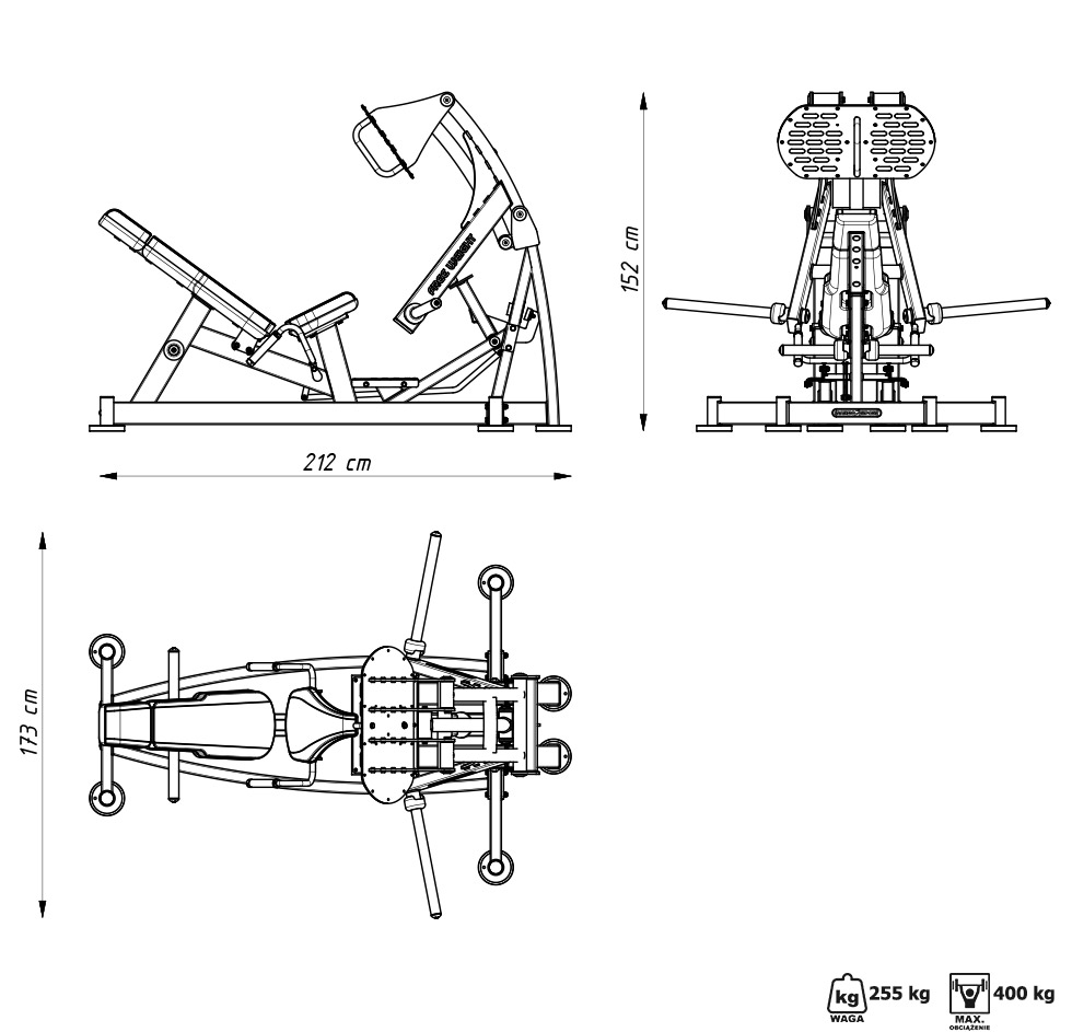 Maszyna na wolny ciężar do wypychania na nogi MF-U013 - Marbo Sport