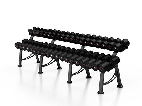 Zestaw hantli stalowych gumowanych 5-50 kg ze stojakiem L MP-HSGk4-L-k1 - Marbo Sport