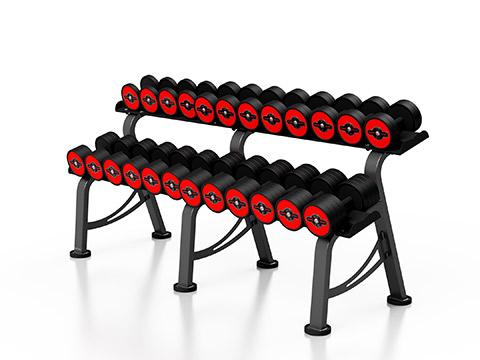 Zestaw hantli stalowych gumowanych 5-32,5 kg ze stojakiem M MP-HSGk5-M-k1 - Marbo Sport
