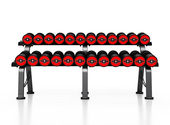 Zestaw hantli stalowych gumowanych 5-32,5 kg ze stojakiem S MP-HSGk5-M-k1 - Marbo Sport