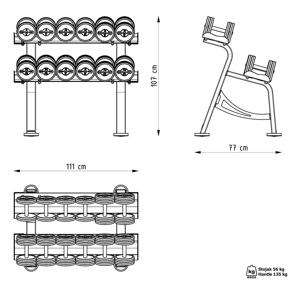 Zestaw hantli stalowych gumowanych 5-17,5 kg czerwony połysk ze stojakiem S MP-HSGk5-S-k1 - Marbo Sport