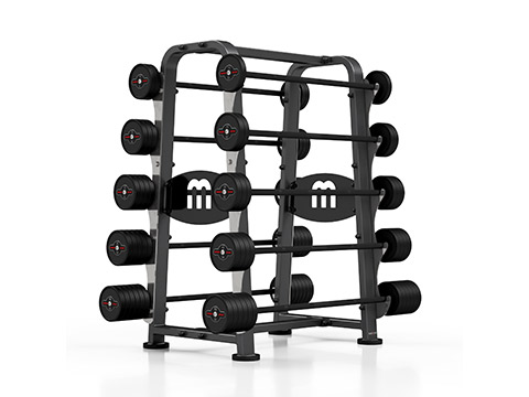 Zestaw sztang gumowanych 10-55 kg ze stojakiem - Marbo Sport