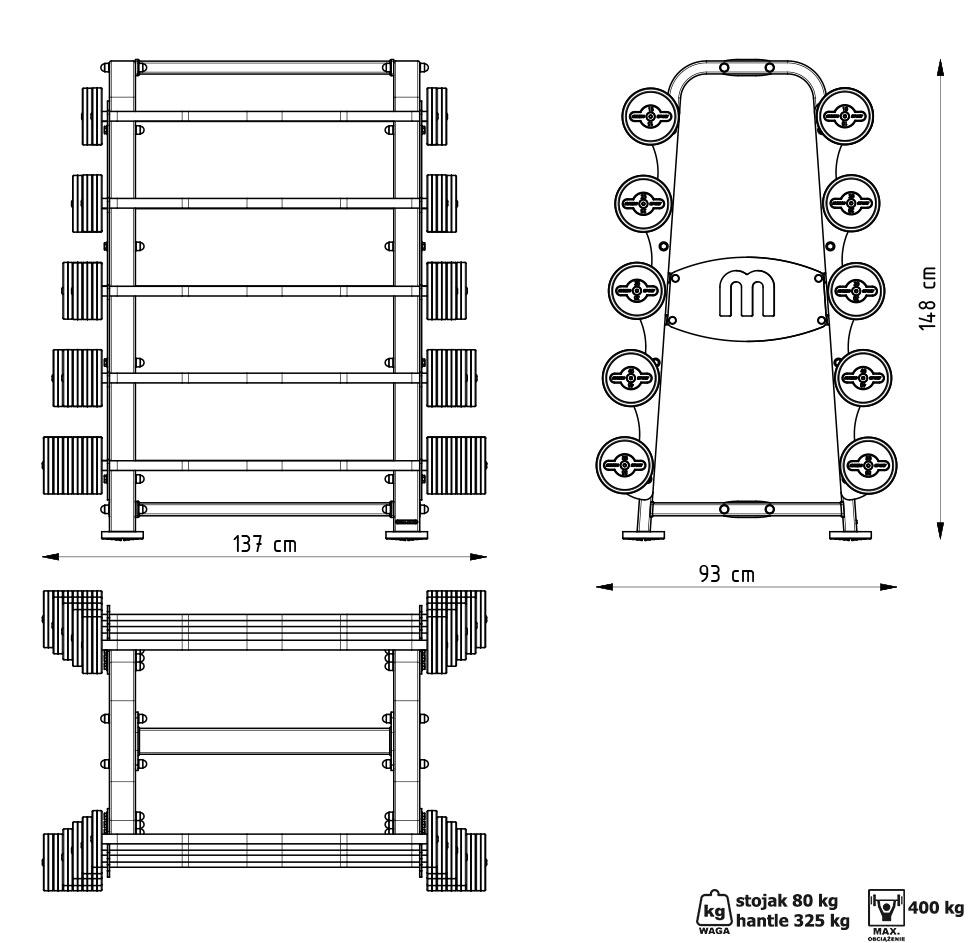 Zestaw sztang gumowanych 10-55 kg czarny połysk ze stojakiem MP-S213 - Marbo Sport