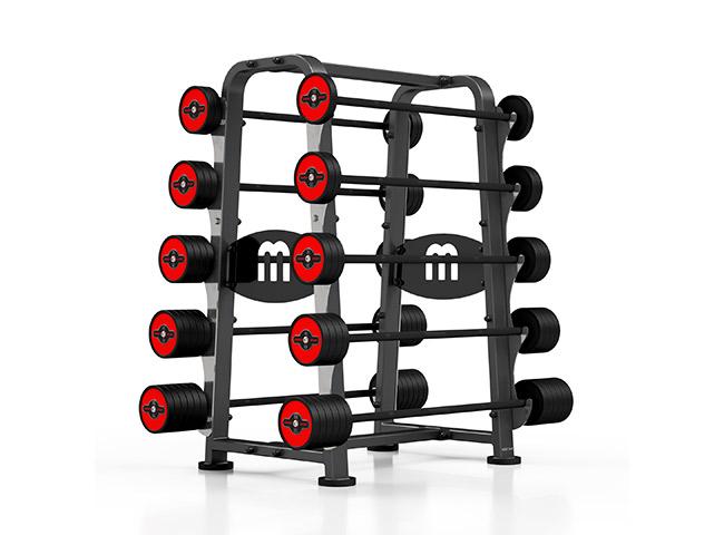 Zestaw sztang gumowanych 10-55 kg czerwony połysk ze stojakiem MP-S213 - Marbo Sport