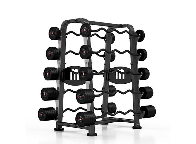 Zestaw sztang gumowanych łamanych 10-55 kg czarny połysk ze stojakiem MP-S213 - Marbo Sport