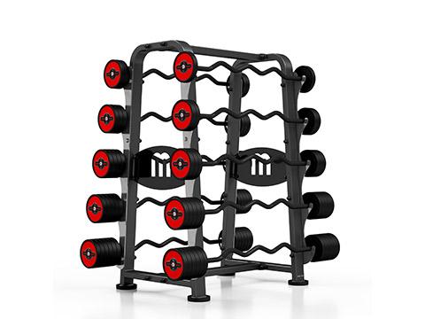 Zestaw sztang gumowanych łamanych 10-55 kg ze stojakiem - Marbo Sport