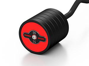 Zestaw sztang gumowanych łamanych 10-55 kg czerwony połysk ze stojakiem MP-S213 - Marbo Sport
