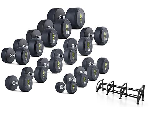 Zestaw hantli gumowanych HQ 5-40 kg ze stojakiem - Marbo Sport