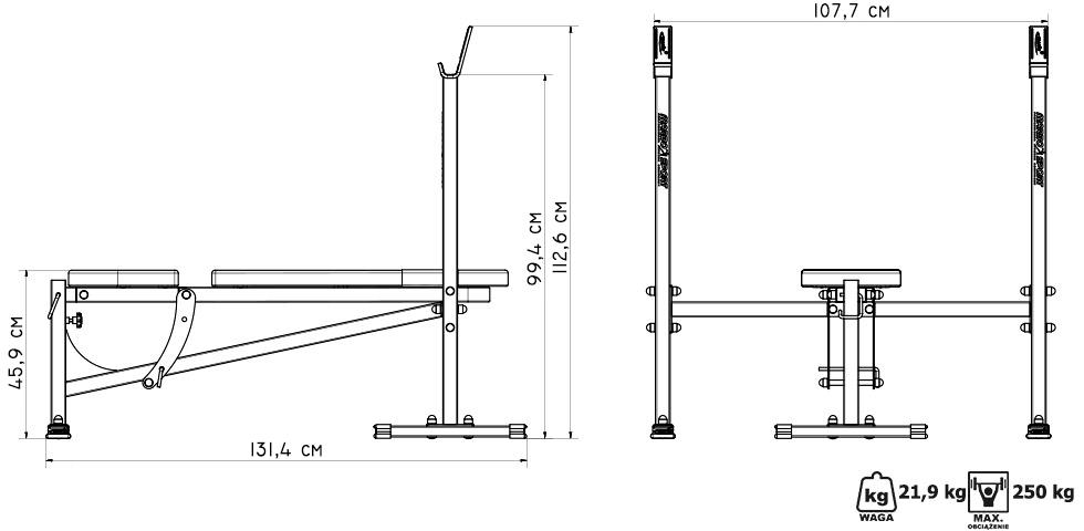 Ławka regulowana ze stojakami - Marbo Sport