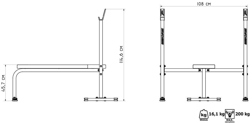 Ławka prosta ze zintegrowanymi stojakami ― Marbo Sport