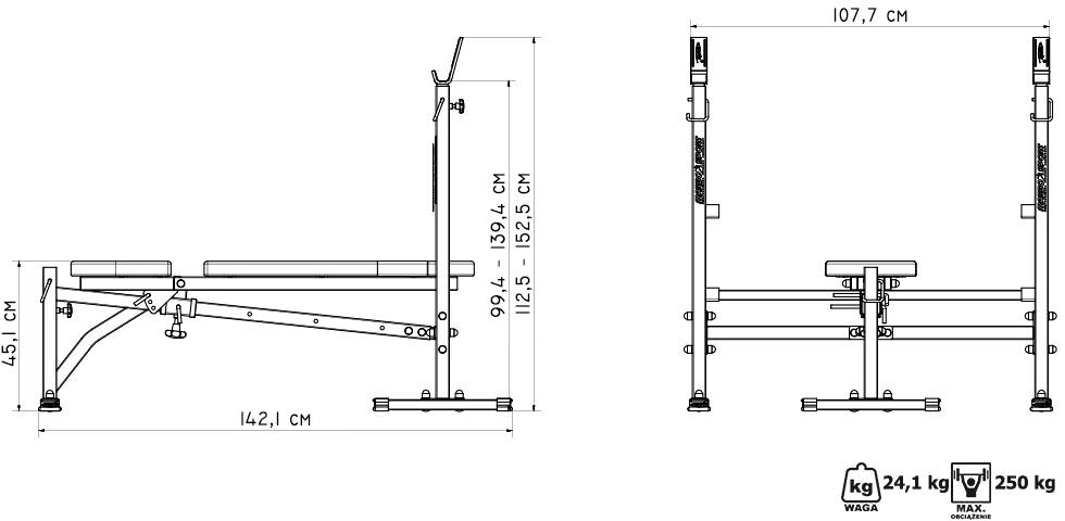 Ławka regulowana ze zintegrowanymi stojakami - Marbo Sport