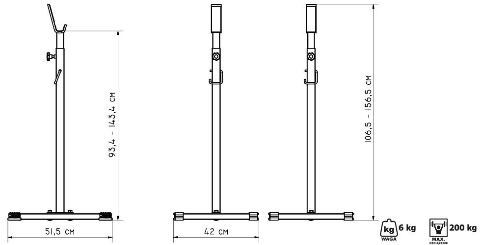 Stojaki pod sztangę regulowane (2 sztuki) ― Marbo Sport
