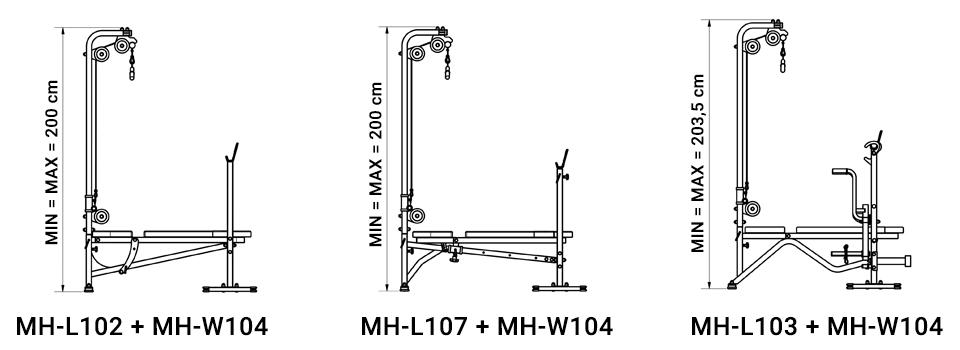 Wyciąg górny i dolny z siedziskiem i stopami - Marbo Sport
