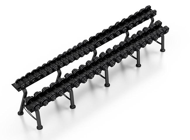 Zestaw hantli stałych 4-46 kg ze stojakiem L - Marbo Sport
