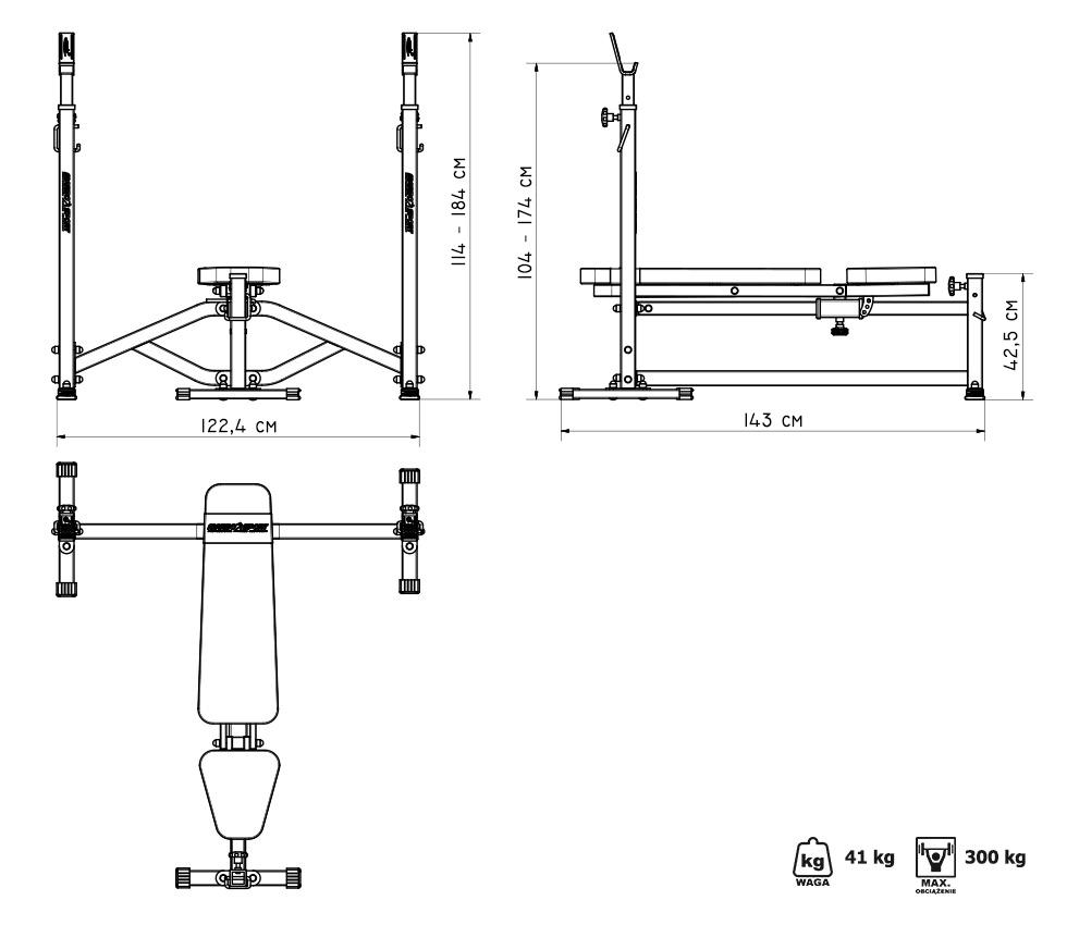 Ławka ze stojakami wzmocniona  MS-L105 - Marbo Sport