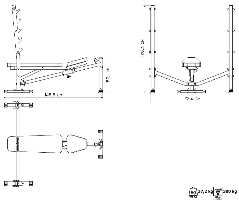 Ławka ze stojakami i skosem ujemnym MS-L106 - Marbo Sport