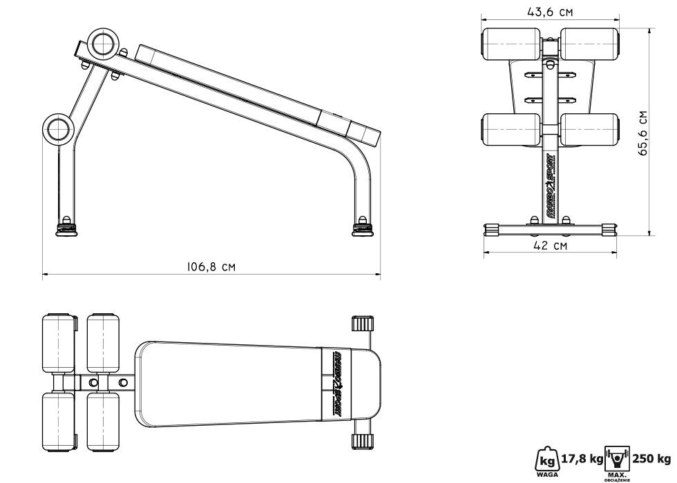 Ławka na brzuch  MS-L110 - Marbo Sport