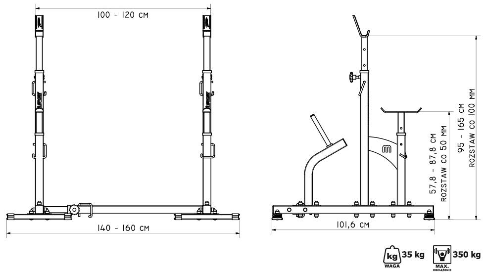 Stojaki łączone z asekuracją 3 rozstawy MS-S104 - Marbo Sport