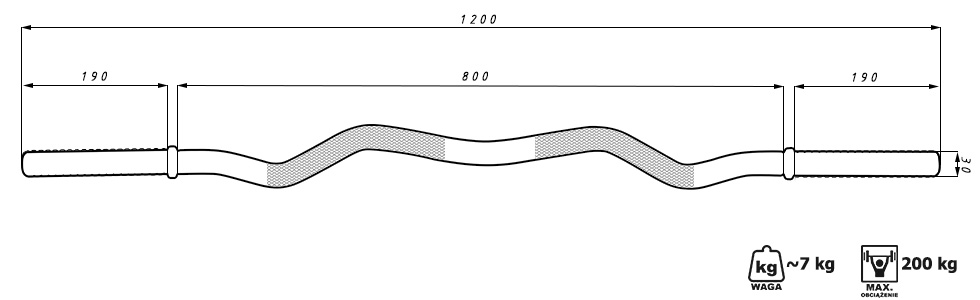 Gryf lekko łamany 120 cm wzmocniony śrubowy - Marbo Sport