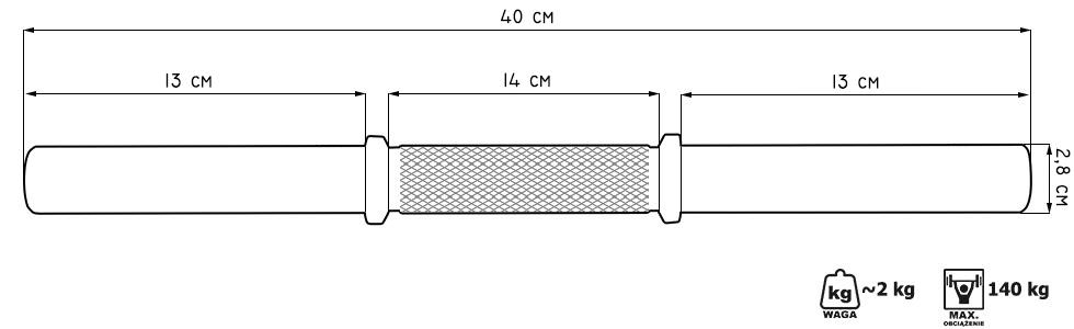 Gryf krótki śrubowy 28mm 40cm MW-G40BK - Marbo Sport