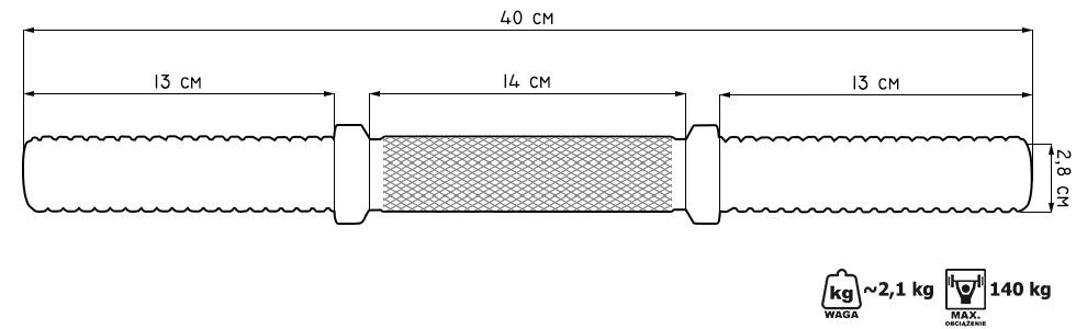 Gryf krótki śrubowy 28mm 40cm MW-G40s - Marbo Sport