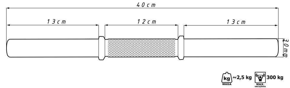 Gryf prosty krótki 45 cm wzmocniony - Marbo Sport