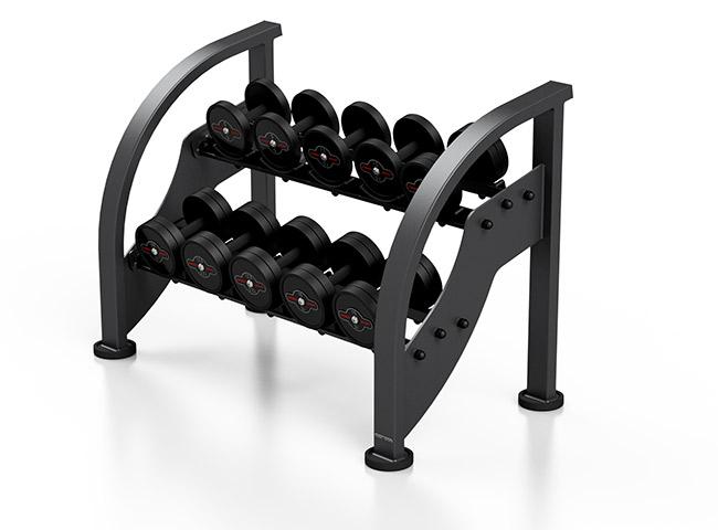 Zestaw hantli stalowych gumowanych 5-15 kg czarny połysk ze stojakiem MF-S002 - Marbo Sport