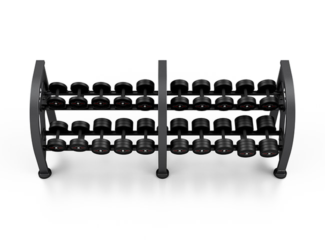 Zestaw hantli stalowych gumowanych 5-27,5 kg czarny połysk ze stojakiem MF-S002 - Marbo Sport