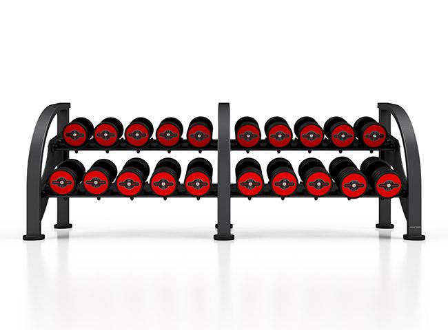 Zestaw hantli stalowych gumowanych 5-27,5 kg czerwony połysk ze stojakiem MF-S002 - Marbo Sport