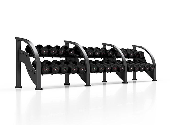 Zestaw hantli stalowych gumowanych 5-40 kg czarny połysk ze stojakiem MF-S002 - Marbo Sport