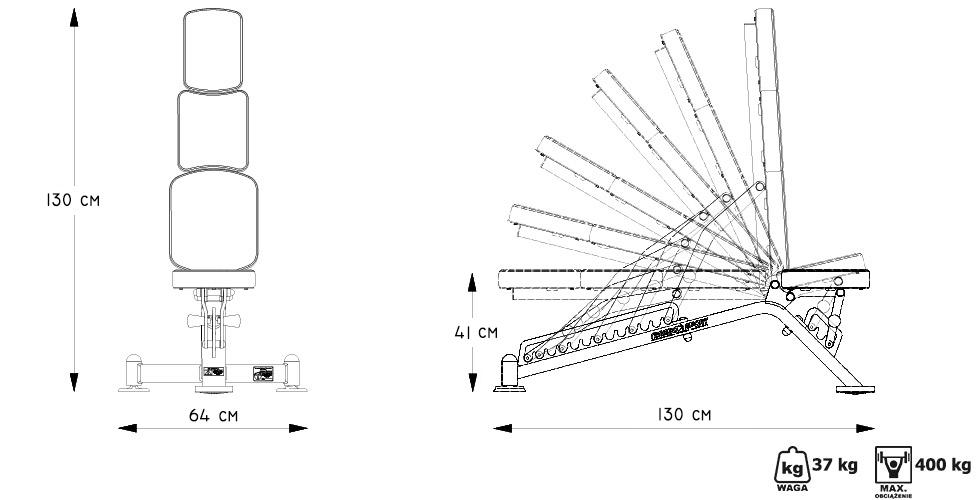 Ławka dwustronnie regulowana MP-L202 - Marbo Sport