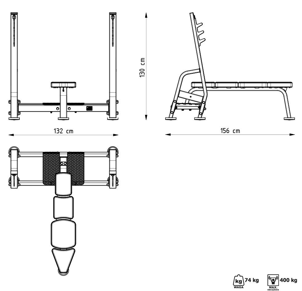 Ławka prosta ze stojakami MP-L204 - Marbo Sport