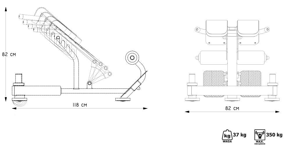 Ławka na grzbiet (prostowniki grzbietu) MP-L212 - Marbo Sport
