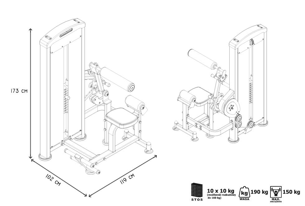 Maszyna 2-w-1 na grzbiet i brzuch ze stosem ― Marbo Sport