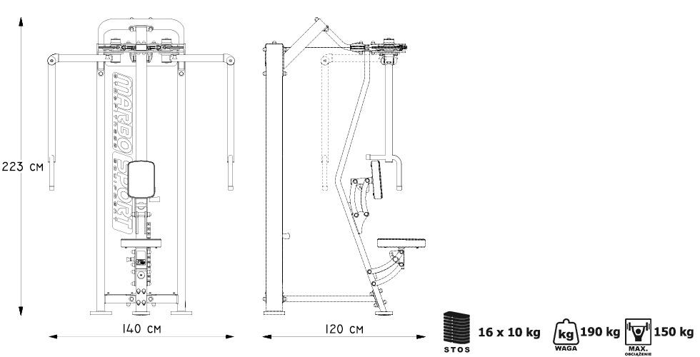 Maszyna 2-w-1 na klatkę i plecy ― Marbo Sport