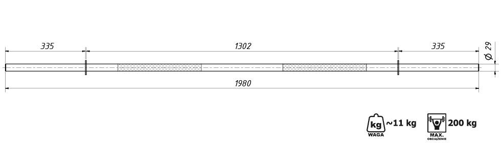 Gryf prosty wzmocniony fi29 198 cm - Marbo Sport