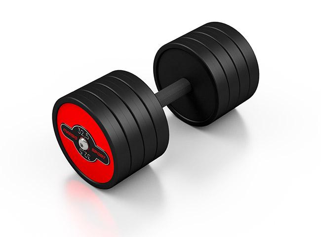 gummierte Kurzhantel aus Stahl rote Glanz - Marbo Sport